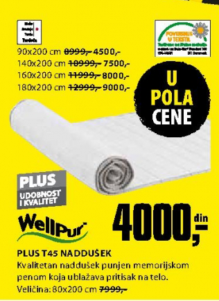 Naddušek Plus T45 160x200 cm