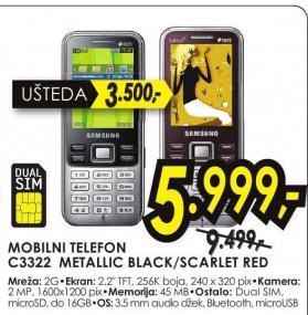 Mobilni Telefon C3322 BLACK/Scarlet red