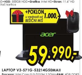 Laptop V3-571G-53214G50 Maii+Poklon bežični miš