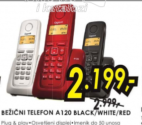 Bežični telefon Gigaset A120  black/white/red