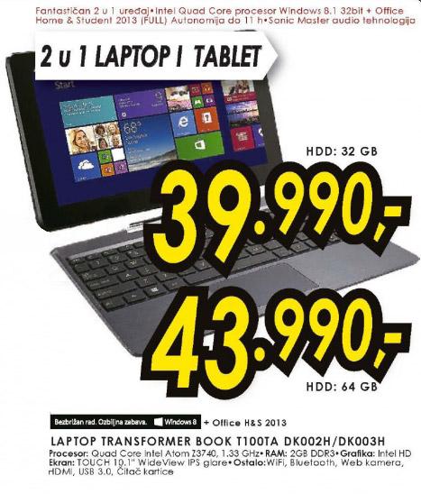 Laptop Transformer Book T100TA DK003H