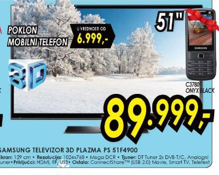 3D televizor plazma PS-51F4900+Poklon: Samsung mobilni telefon C3780 ONYX BLACK