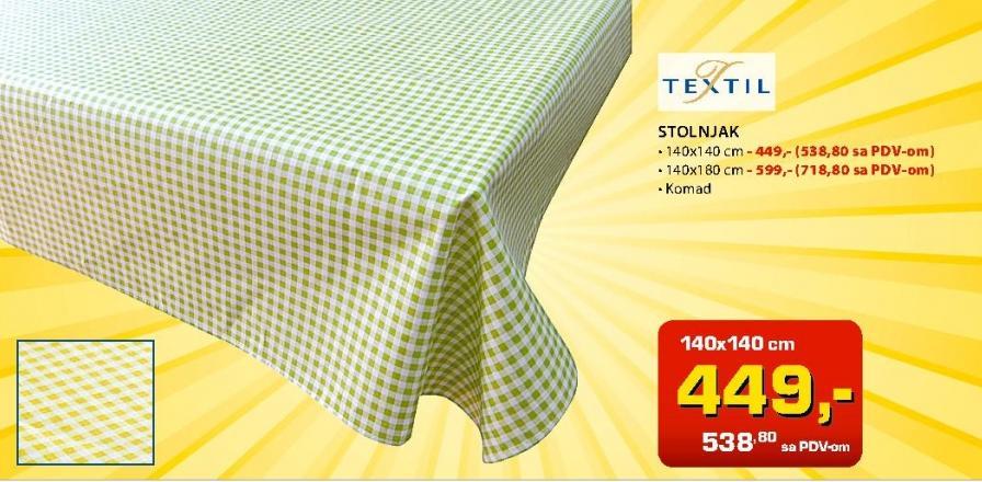 Stolnjak 140x180cm Textil