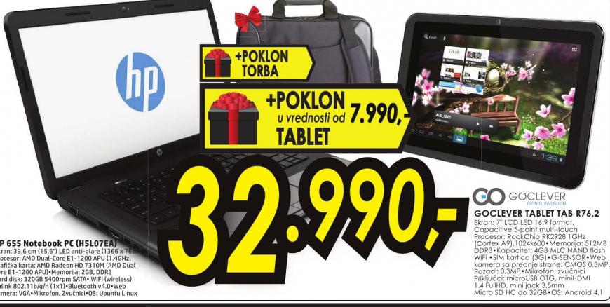 Laptop HP 655 H5L07EA+Poklon torba+Poklon Tablet GoClever  TABR76.2