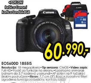 Digitalni fotoaparat Eos 600d 1855is + Poklon Canon torba i Sandisk  8Gb SD kartica