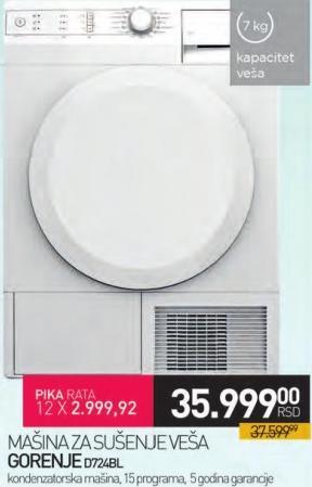 Mašina za sušenje veša D724BL