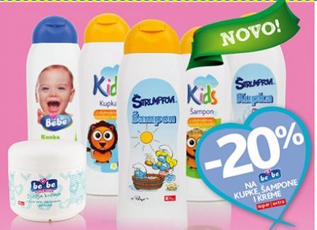 -20% na BEBE šampone, kupke, kreme