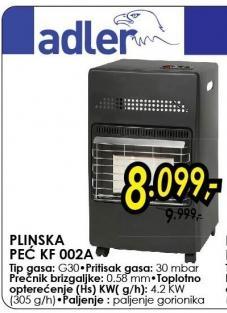 Plinska peć KF002A