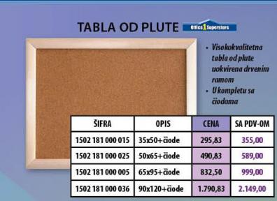 Tabla  od plute 35x50