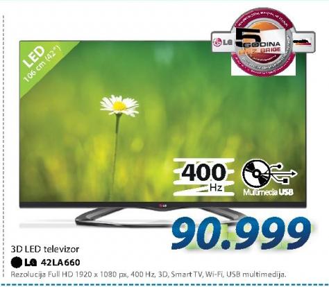 Televizor 3D LED LCD 42LA660