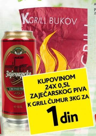 Ćumur K Grill 3kg za 1 dinar!