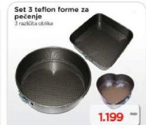 Set 3 teflon forme za pečenje