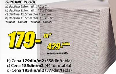Gipsane ploče 9,5mm 2,6m