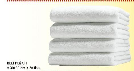 Beli peškir, 30x30cm