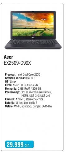 Laptop Ex2509-C99x