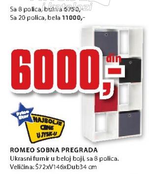 Sobna pregrada Romeo, 20 polica