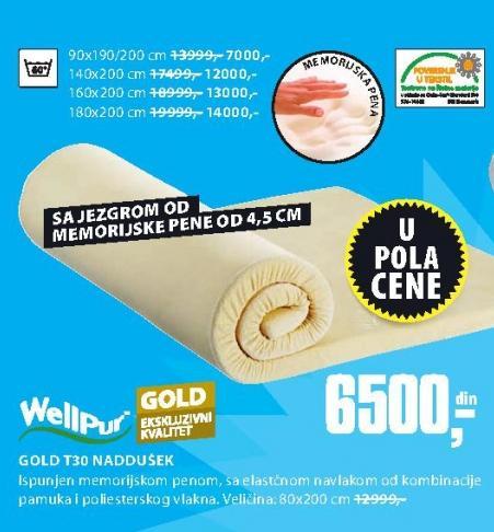 Naddušek Gold T30 90x190/200