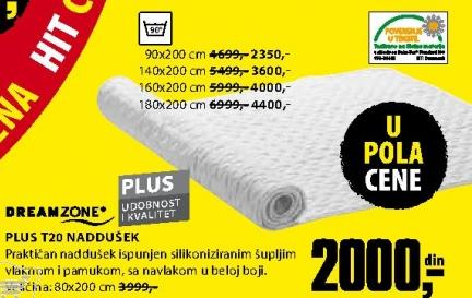 Naddušek, PLUS T20 180x200 cm