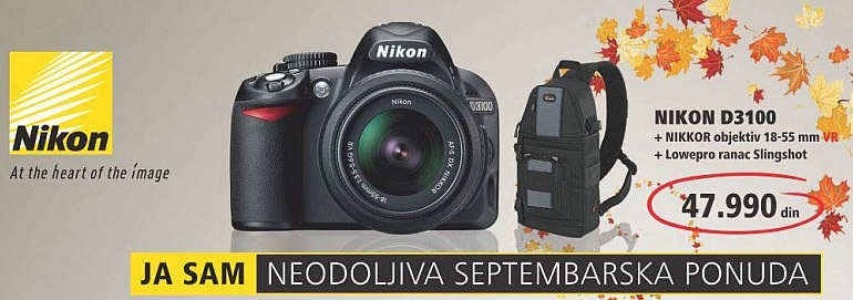 Digitalni Fotoaparat D3100+NIKKOR objektiv 18-55mm VR+Lowepro ranac