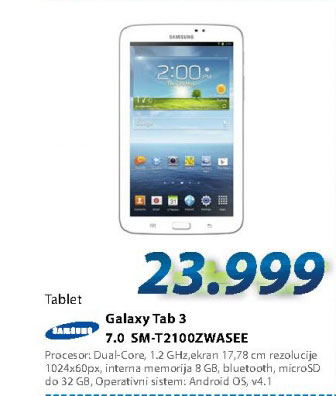 Tablet PC SM-T2100ZWASEE TAB3 7""