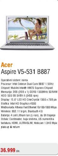 Laptop Aspire V5-531 B887