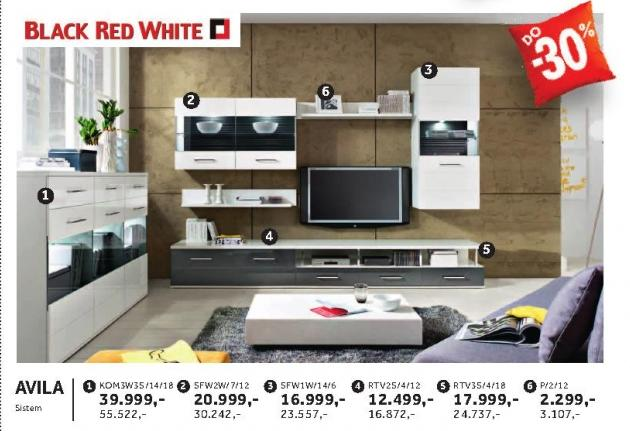 Komoda Kom3w3s/14/18 Avila Black Red White