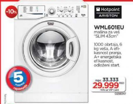 Hotpoint Mašina Za Pranje Veša WML601EU
