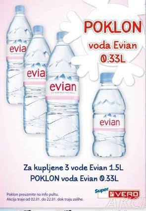 Poklon voda Evian 0.33 l