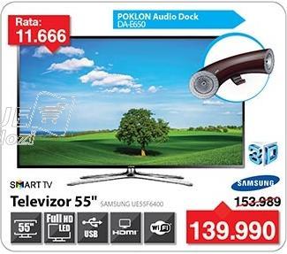"""Televizor LED 55"""" 3D Ue55f6400 + Poklon Audio Dock DA-E650"""