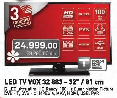 """Televizor LED 32"""" 32883 + Poklon zidni nosač"""
