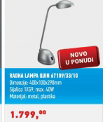 Radna lampa Quin 67109/33/10