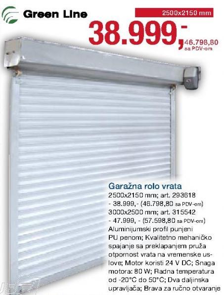 Garažna Rolo vrata 2500x2150mm