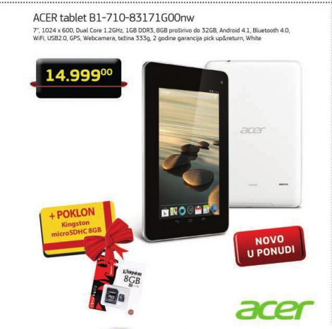 Tablet Acer Iconia B1-710-83171G00NW +Poklon Kingston microSDHC 8GB