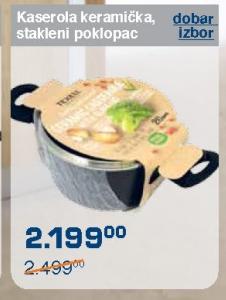 Kaserola keramička, stakleni poklopac