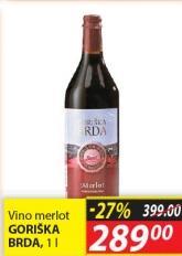 Crno vino Merlot Goriška brda