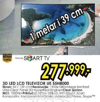"""Televizor LED 55"""" 3D Ue 55h8000"""