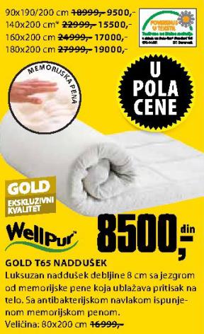 Naddušek, Gold T65 160x200 cm