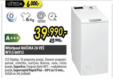Mašina Za Pranje Veša WTLS 66912