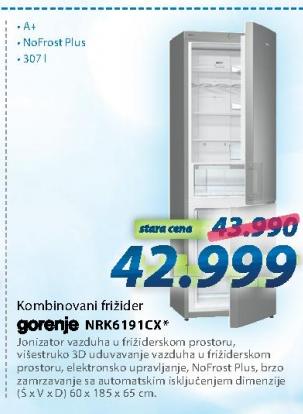 Kombinovani frižider NRK6191CX