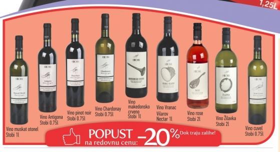 20% popusta na Stobi vina
