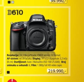 Fotoaparat digitalni D610