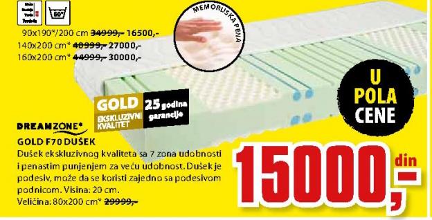 Dušek, Gold F70 80x200 cm
