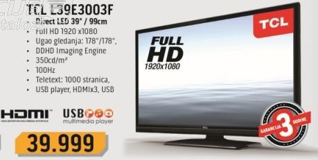 """Televizor LED 39"""" L39e3003f TCL"""