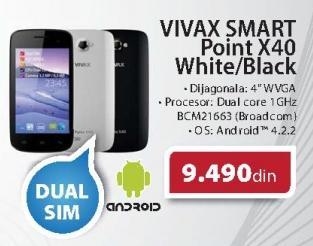 Mobilni telefon Smart point X40 White/Black