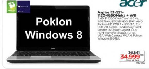 Laptop Aspire E1-521-11204G50Mnks
