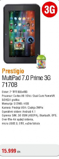 Tablet Multipad 7.0 Prime 3G 7170B