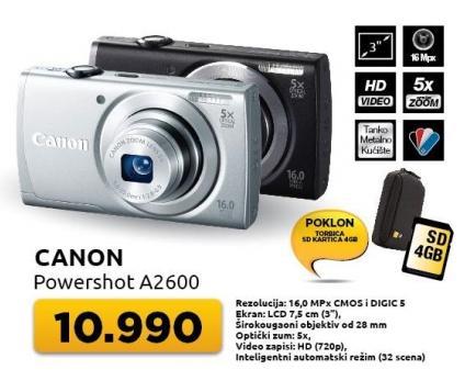 Digitalni fotoaparat Powershot A2600 + Poklon torbica + SD4GB