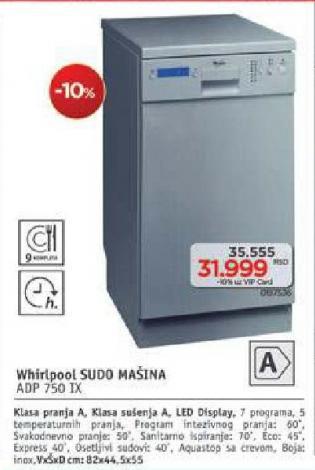 Mašina za pranje sudova Adp 750 Ix