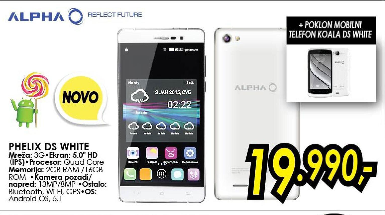 Telefon mobilni Phelix DS White