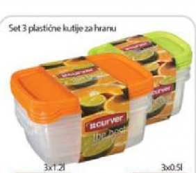 Set 3 plastične kutije za hranu 3x1,2l